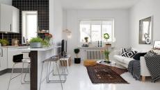 Petit salon/cuisine ouverte au meuble design très simple