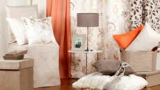 Linge de maison en beige, marron et orange