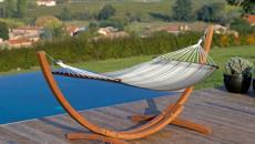 hamac sur pied en bois exotique