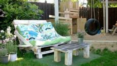 Palettes transformées en mobilier de jardin