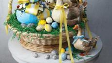 panier à œufs de pâques aux oies