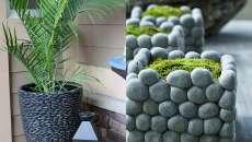 Des cache-pots à faire soi-même avec des cailloux ou beaux galets gris