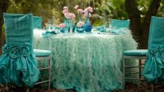 Decoration de table magique en tulle turquoise