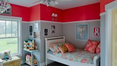 Peinture murale joyeuse en gris et rouge framboise