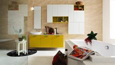 ameublement salle de bain blanc et jaune