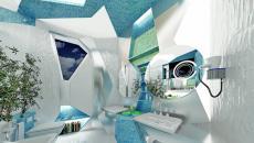 Salle de bain excentrique en turquoise