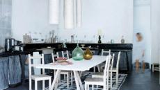 Un tapis en blanc très réussi pour le coin salle à manger