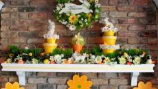 déco maison Pâques étagère décorée au dessus de cheminée