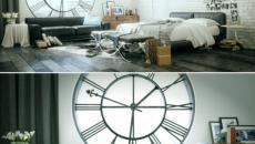 design chambre à horloge géante