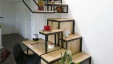 Escalier d'intérieur en cases de bois