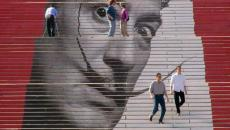 Escalier street art devant Philadelphia Museum of Art - Etats Unis