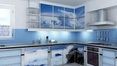 Cuisine design en bleu ciel