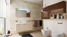 salle de bain à l'ameublement en bois clair