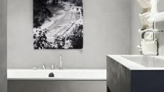 salle de bain design coloris gris béton