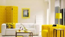 salon déco design en blanc et jaune