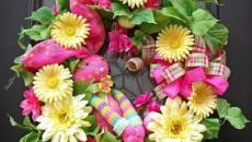 couronne déco florale et oeufs de Pâques