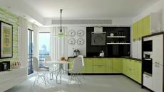 cuisine en vert design blanc
