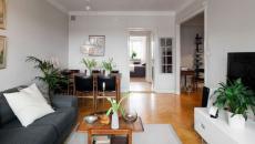 Salon au meuble design et allures nordiques