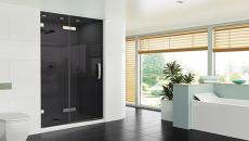 Porte de douche en verre fumé très design