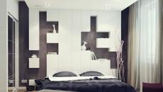 étagères blanches design en guise de tête de lit