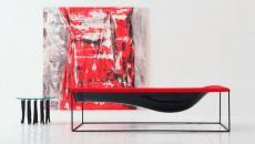 Méridienne moderne et design en rouge