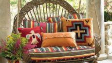 orange et rouge pour ce mobilier en rotin