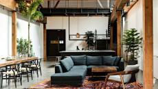 poutres style apparentes bois brute industriel séjour