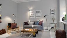 Séjour scandinave en gris et au meuble design industriel