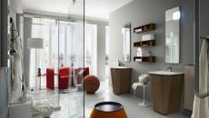 ameublement salle de bain en wengé et rouge