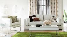 Séjour design moderne en beige doux et vert anis