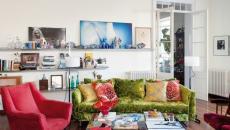 rouge et bleu pétrole salon design