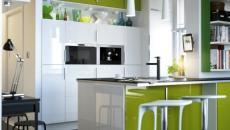 cuisine au comptoir vert et bois