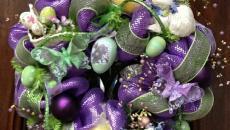 couronne en fleurs de déco pâques