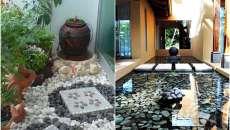 Les pierres constituent une idée de décoration créative pour le jardin et le patio
