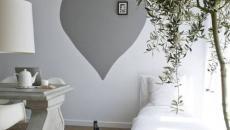Chambre en gris à la peinture murale unique