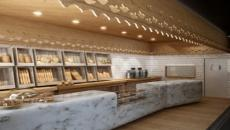 boulangerie marbre et bois très design