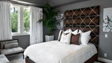 Chambre à coucher – décoration en gris et blanc