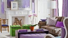 Violet et blanc dans ce séjour aux teintes uniques