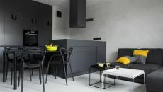 séjour design en noir et jaune