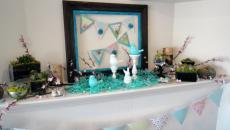 déco maison Pâques en turquoise et blanc