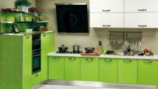 design cuisine vert placards blancs