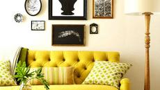 Beau canapé Chesterfield en vert citron