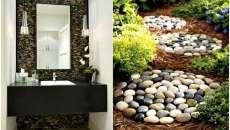 Des galets multicolores pour décorer un mur de la salle de bain ou une allée de jardin