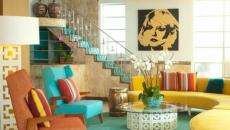 Salon moderne et contemporaine en jaune et bleu pétrole