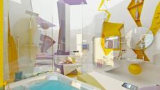 Vue d'ensemble de la salle de bain design jaune