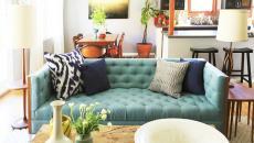 canapé turquoise pour salon design éclectique