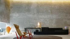 béton pour murs séjour contemporain design industriel