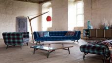 Canapé design rétro à la couleur bleu velours