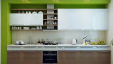 cuisine moderne en bois foncé et vert