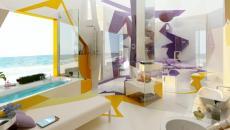 Vue en profondeur de la salle de bain design jaune